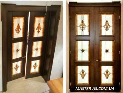 Деревянные двери с витражами МД-140