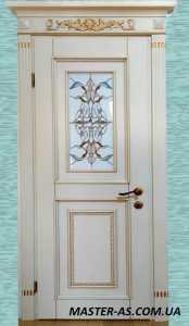 Витражные межкомнатные двери из ольхи
