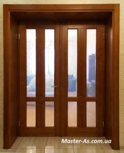 Двойные распашные межкомнатные двери из ольхи МД-142