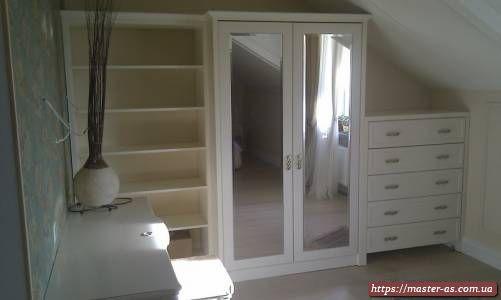 Спальная мебель: комод, шкаф и полки для белья